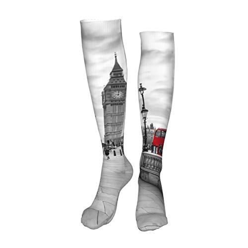 Vilico Casual rodilla medias altas sobre la rodilla calcetines largos murales de pared Londres cabina telefónica roja y gran ben reloj torre unisex Deportes para hombres mujeres