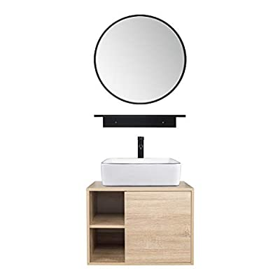 Puluomis 23.6-Inch Natural Color Wall Mounted Bathroom Vanity, with Round Mirror and White Rectangle Ceramic Sink
