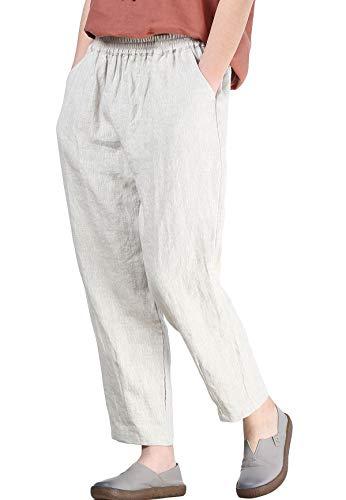 Mallimoda Femme Pantalon Cheville Lin Carotte Pantacourt Casual Taille Élastique Beige M