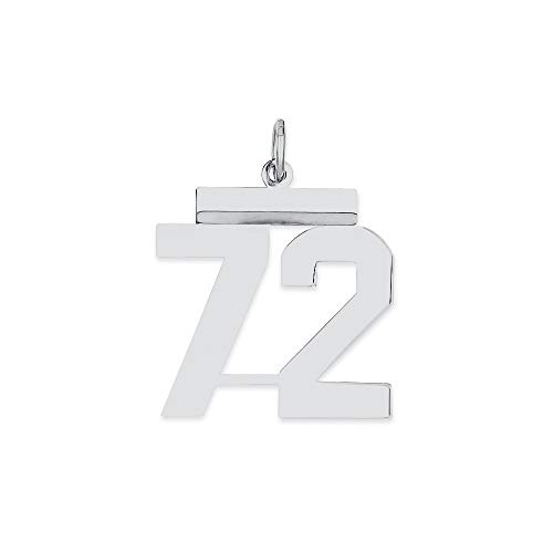 16mm 925 Sterling Silver Medium Polished Pendant Necklace Sport game Number 72 Jewelry Gifts for Women