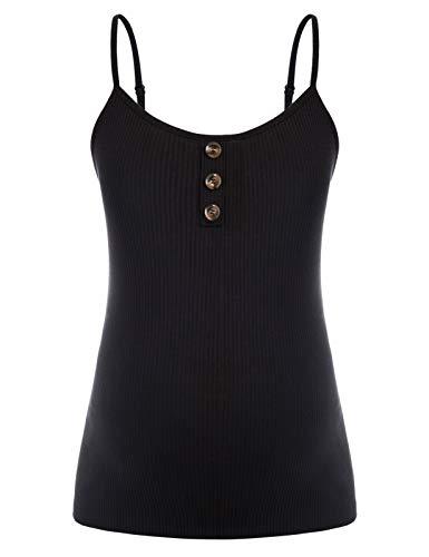 Maacie MC0068S21 - Camiseta interior de tirantes para mujer con tirantes finos y tirantes ajustables Mc0068s21 (negro) S