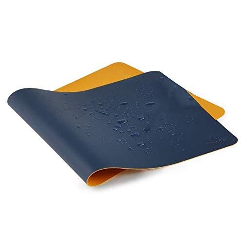 JYCTD Alfombrilla de Escritorio, 40 cm x 80 cm de Cuero sintético para Mesa de Oficina, Alfombrilla de Mesa para Ordenador para Oficina, Doble Cara (Azul Oscuro y Amarillo)