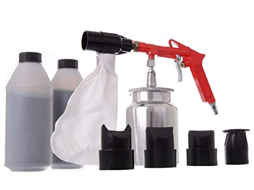 Profi Druckluft Sandstrahlpistole Sandstrahlgerät mit 2 Strahlgut 4 Düsen