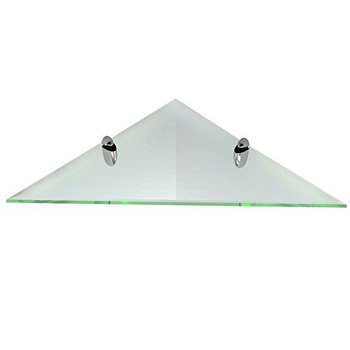 Fab Glass and Mirror Corner Clear Kit 6x6 Inch with Chrome Brackets-Triangle Glass Shelf, 6' x 6'