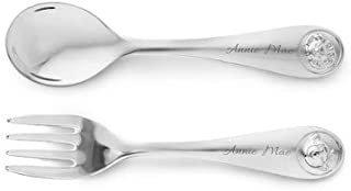 Things Remembered Personalized Silver Safari Animal Fork and Spoon Set with Engraving Included