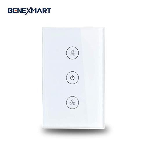 Benexmart Smart WiFi Ceiling Fan Switch Compatible with Alexa Google Home Smart Life App Control Fan Switch