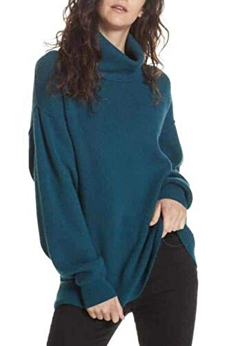 Free People Womens Kitty Turtleneck Thermal Pullover Top Blue S