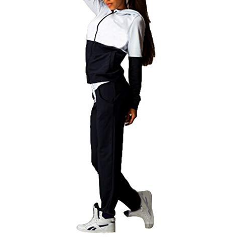 MEIHAOWEI Conjunto de Chándal para Mujer Sudadera con Capucha de Manga Larga con Cremallera + Pantalones Chándal Sport Gym Jogging Suit