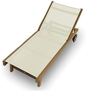 Royal Teak Collection SDW Teak Lounging Sundaze Sling Chair, White