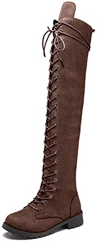 chegong Women's Military Combat Boots Suede Lace-up Flat Shoes Over The Knee Boots Brown 36