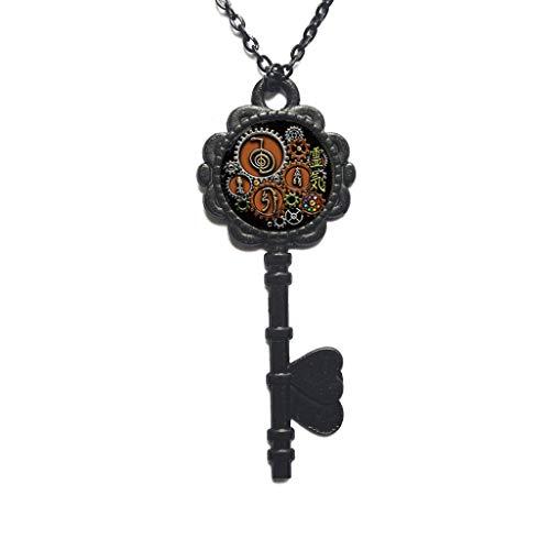 Collar con colgante de diseño steampunk, diseño de símbolo de Reiki con llave de cabujón, collar de llave simple, joyería cotidiana, PU021