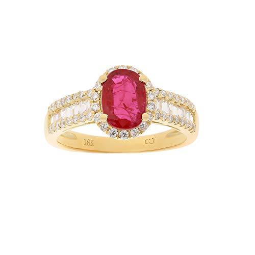 Gin & Grace 18 quilates de oro amarillo genuino diamante Rubí (SI1) proponer Promise Ring (tamaño 7) para la Mujer