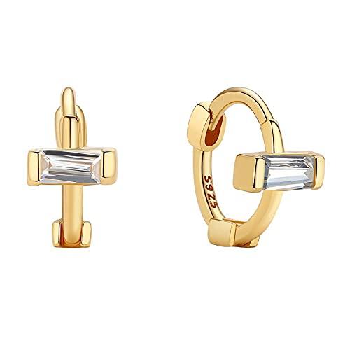 Pendientes de aro de oro con forma de Cruz Huggies de plata esterlina para joyería de mujer