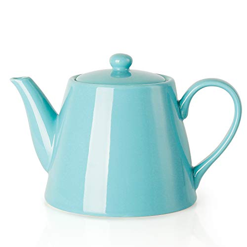 Sweese 223102 Porcelain Teapot 28 Ounce Serving Teapot for 2 Turquoise