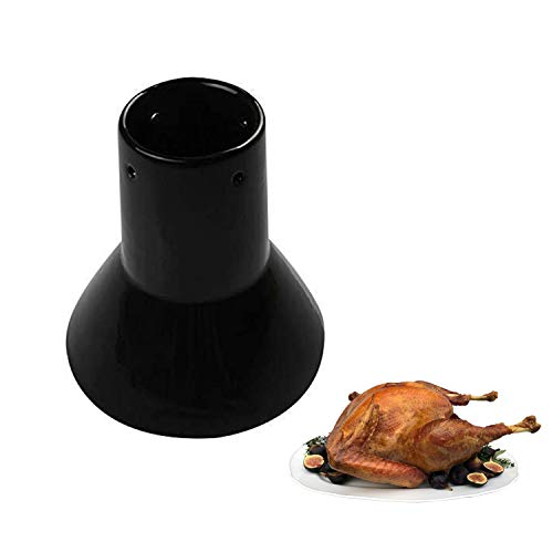 Ceramic Chicken Roaster Rack, Beer Can Turkey Stand Vertical Poultry Ceramic Steamer Cooking BBQ Accessories, Non-Stick Ceramic Barbecue Tool for Grilling Like BGE Kamado Joe, Ovens, Smokers (Large)