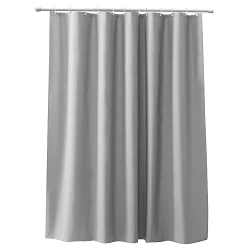 CLOFY Duschvorhänge, Duschvorhang aus Polyester, 200 x 200 cm, Anti-Schimmel, Uni Grey - Anti-Bakteriell,Wasserdichtes Design, mit 12 Duschvorhangringen, Grau
