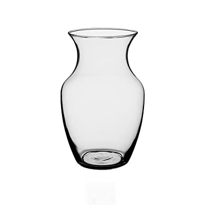 "Floral Supply Online - 8"" Clear Rose Vase and Flower Guide Booklet - Decorative Glass Flower Vase for Floral Arrangements, Weddings, Home Decor or Office."