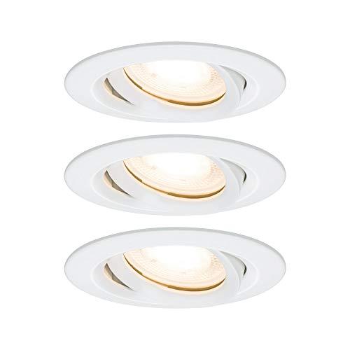 Paulmann 92898 Einbauleuchte LED Nova Einbaustrahler rund Spot IP65 strahlwassergeschützt 7W 3er-Komplettset inkl. GU10 Leuchtmittel Weiß schwenkbar