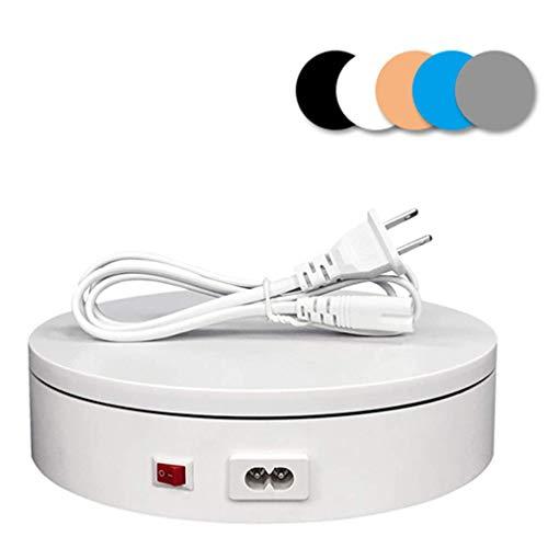Elektrischer Drehteller, Professioneller Elektrischer 360-Grad-Drehteller Für Die Fotografie Automatische Drehplattform, Perfekt Für Fotografie Videoaufnahmen Requisiten S(Color:Weiß,Size:20*5cm)
