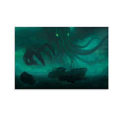 DRAGON VINES Cthulhu Mythos Darkness Unknown Fear Shipwreck Great Old One Leinwanddruck, Dekoration für Büro und Zuhause, 60 x 90 cm