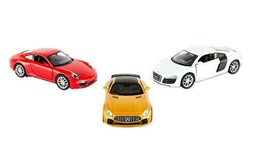 Grin Studios Diecast Cars European 3 Pack Bundle- 1/32 Scale | All Metal Bodies | Moveable Doors |Includes Mercedes Benz SLS AMG GT R Yellow, Porsche 911 Carrera S Red, Audi R8 V10 White