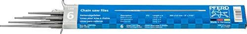 PFERD Kettensägefeilen, 6 Stück, rund, 200mm x 5,5mm, Spiralhieb, Premium Line, 11041203 – für das manuelle Schärfen von Sägeketten, 6er-Verpackung, Feilen-ø 5,5 mm