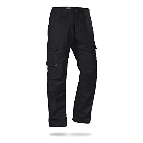 LA Police Gear Men's Water Resistant Operator Tactical Pant with Elastic Waistband - Black - 28 x 30