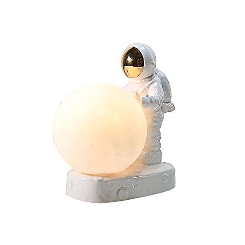 Spaceman Lámpara de luna 3D Jabroyee astronauta LED lámpara de mesa inalámbrica de noche con 16 colores de iluminación / mando a distancia para niños, dormitorio o regalo de cumpleaños