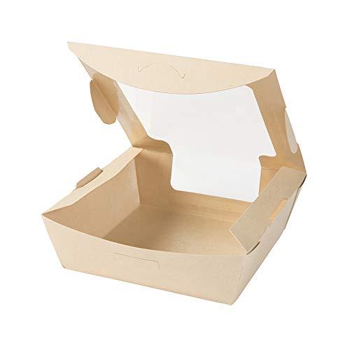 BIOZOYG Caja para Llevar de Fibras de bambú I Hermosa Caja de cartón Tree Free con Ventana de visión, Seguro y Resistente a la Humedad I 50 pzas. Cajas de Regalo para pastelería Capacidad 800ml