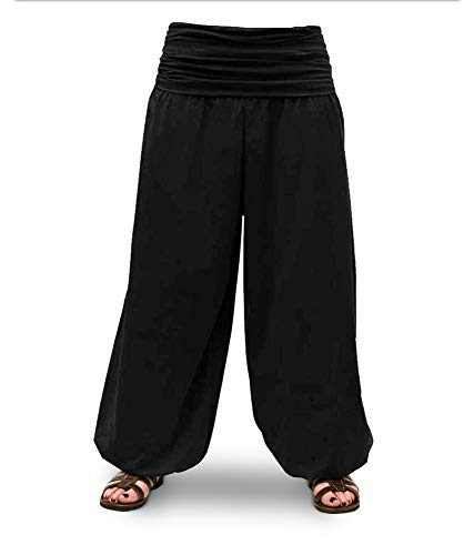 Savari Pantalones Yoga Meditacion Bombachos Unisex Hombre y Mujer Negro Blanco Gris Marino Vino (Negro, M)