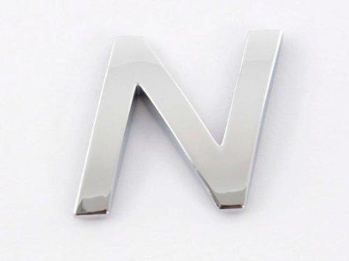 Chrom Aufkleber Klebebuchstabe 3D Chrombuchstabe N chrom