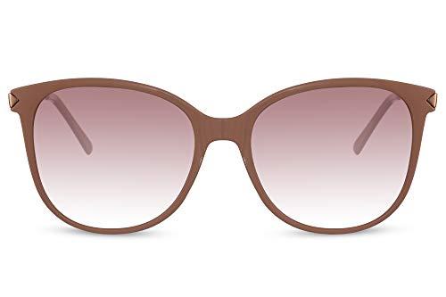 Cheapass Sunglasses - Gafas de sol con montura de color crema lechoso brillante con lentes degradados y patillas de metal dorado, clásico, elegante, vintage, con protección UV400 para mujer