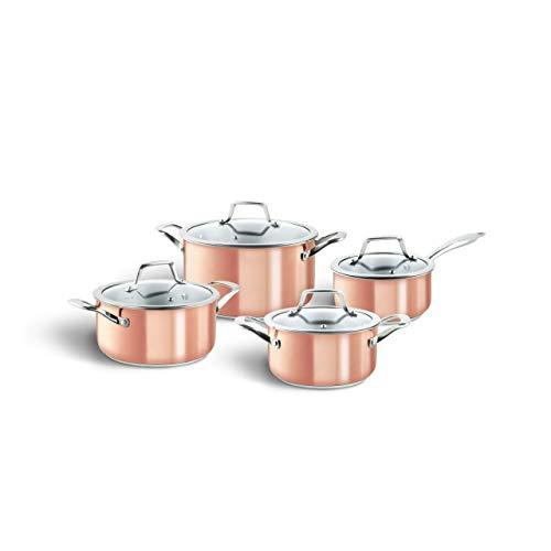 3-Schicht-Edelstahl Topfset 4-tlg. Kupferbeschichtetes Kochtopf-Set mit Glasdeckeln in edlem Design, geeignet für alle Herdarten