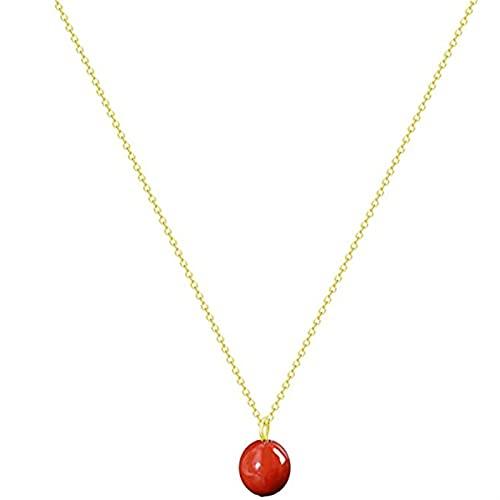 ZhaoZZ Collares Mujer Joven, Cornalina Colgante, Collar De Cristal De Ágata Roja For Mujeres, Colgante De Cristal, Collar De Ágata, Collar De Ágata Roja Simple (Color : Rose Gold, Size : 2pcs)
