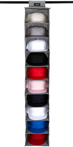 STEVOY Hat Rack 10 Shelf Hanging Closet Hat Organizer, Hat Holder for Wall, Hat Storage for Baseball Caps
