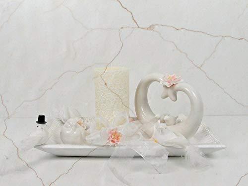 Dekoration Traum in Weiß künstliche Blumen Tischgesteck Blumengesteck Seidenblumen Blumendekoration Muttertagsgeschenk