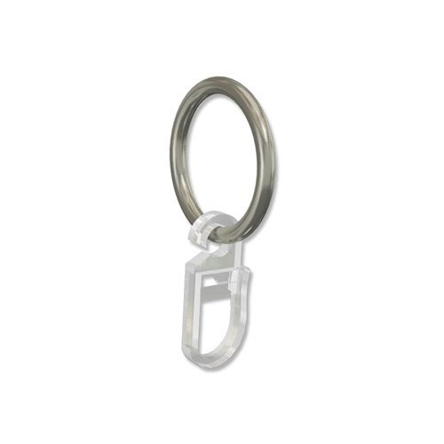 INTERDECO Gardinenringe mit Faltenhaken/Ringe in Chrom matt für Gardinenstangen 16 mm Ø (24 Stück)