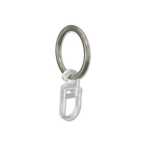 INTERDECO Gardinenringe mit Faltenhaken/Ringe in Chrom matt für Gardinenstangen 16 mm Ø (20 Stück)