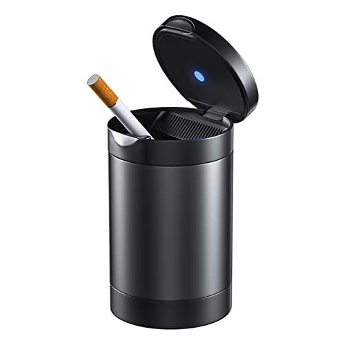 N / B Posacenere Portatile per Auto, Portacenere per Fumo di Sigaretta a LED Blu Luce Ritardante di Fiamma per Auto Portacenere di Alta qualità Antivento Viaggio All'aperto, Uso Domestico