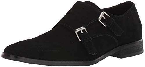 Calvin Klein Men's Monk Strap Suede Shoes Loafer, Black