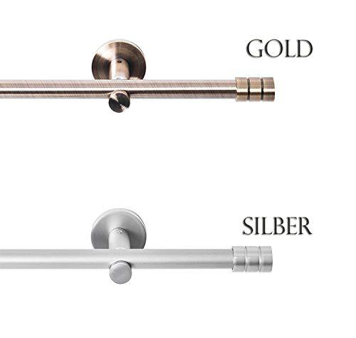 Rollmayer Metall Gardinenstange Ø 16mm Rohr, Antik Gold für Ösenvorhang Gardinen Vorhang (Lento 520cm lang, Gold, 1-läufig) einfache Montage Modern Vorhangstange Ohne Ringe!