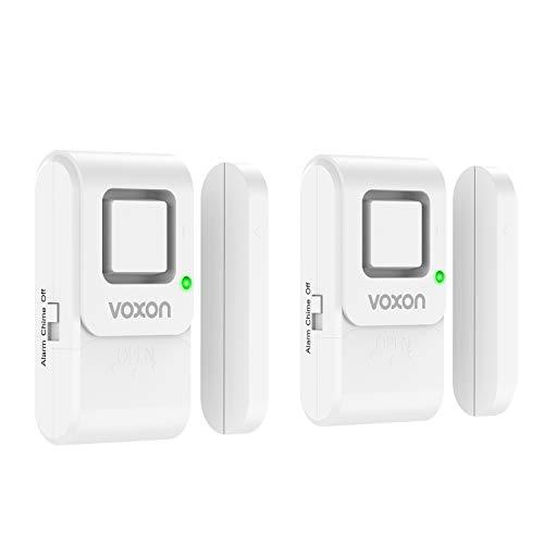 VOXON Sensor de Puerta y Ventana Inalámbrico, 120 DB con Sensor Magnético Inalámbrico, Kit de Alarma para Puertas y Ventanaspara Casa, Cuarto para Bebés, Garaje, Oficina de Negocios (2 Unidades)