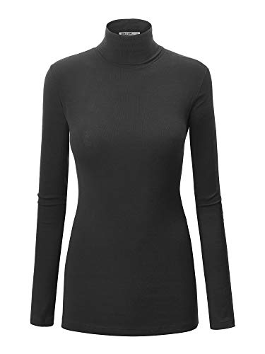 WT950 Womens Long Sleeve Turtleneck Top Pullover Sweater M Black