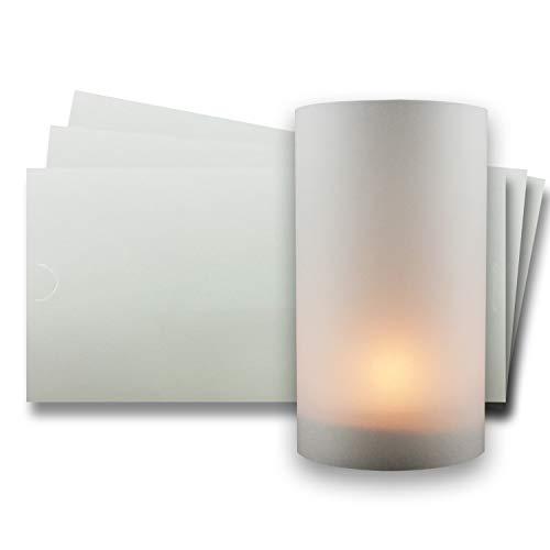10x Teelichtkarten aus transparentem Kartonpapier - Weiß-Transparent - Windlichtkarte bemalbar und bedruckbar für Dekorationen
