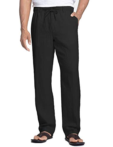 COOFANDY Men's Casual Linen Pants Cotton Elastic Waist Drawstring Trousers Black