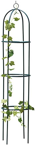garden mile 1.9m Metal Garden Obelisk Climbing Plant Flowers Steel Frame Trellis Vines Floral Decor Army Green Yard Round Weather-Proof Growing