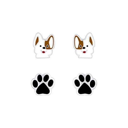 Laimons Mädchen-Ohrstecker Hund weiß braun 8mm und Hundepfote schwarz 8 mm 2 Paar aus Sterling Silber 925