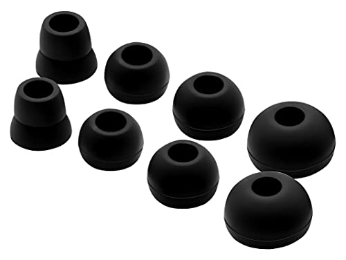 Geiomoo Silicona Auriculares Eartips Compatible con Powerbeats2, Powerbeats3, Ear Tips Suave Almohadillas (D/L/M/S, Negro)