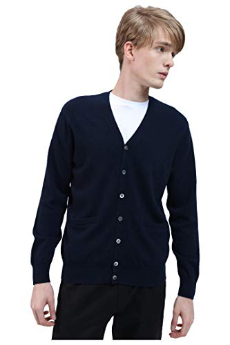 BEYOND FASHION Navy Blue Men's 100% Pure Cashmere Cardigan Sweater V Neck Button Front Size XL