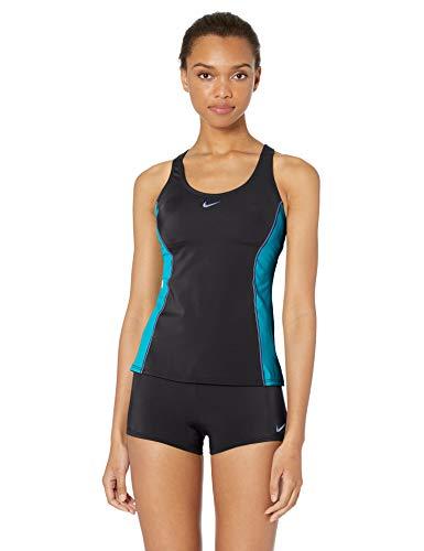 Nike Swim Women's Color Surge Powerback Tankini Swimsuit Set, Oracle Aqua, Medium